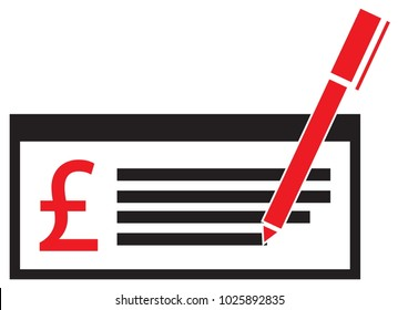 Pound Sterling currency icon or logo vector on a pay check or cheque. Symbol for United Kingdom or Great Britain and England bank, banking or British and English finances