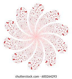 Pound Sterling fireworks swirl flower with ten petals. Vector illustration style is flat red scattered symbols. Object twirl organized from random design elements.