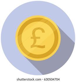 Pound sterling Icon. flat design. Vector illustration.