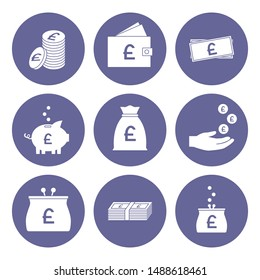 Pound sterling icon set. Great Britain currency. Vector.