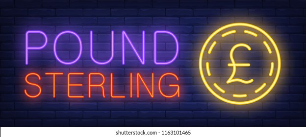 Pound sterling neon text with gold coin. Finance, banking, money design. Night bright neon sign, colorful billboard, light banner. Vector illustration in neon style.