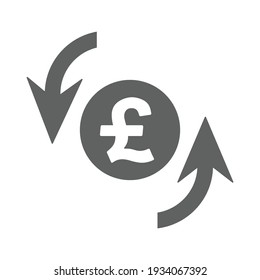 pound sterling rotation update icon. Gray Vector graphics.