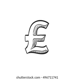 Pound sterling symbol icon in doodle sketch lines. UK currency, British, Europe