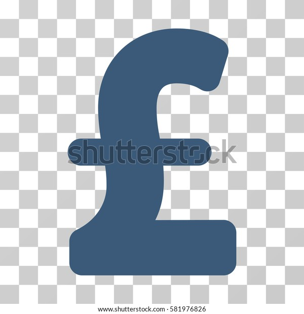 Pound Sterling vector pictogram. Illustration style is a flat iconic blue symbol on a transparent background.