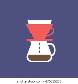 pour over coffee maker icon. vector illustration