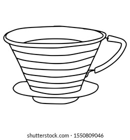 pour over drip coffee in graphic style hand draw illustration