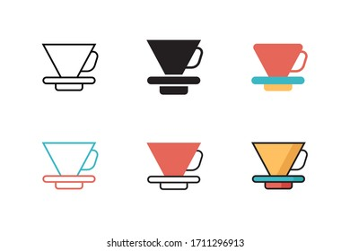 pour over icon vector illustration with six different style design. isolated on white background