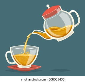Pour Tea Drink from Glass Teapot Transparent Stream Flow Water Retro Vintage Cartoon Icon Design Vector Illustration