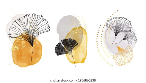 Pouring art geometric minimalist print. Modern painting abstract circle watercolor shapes with black leaves, modern acrylic ink blobs with decorative elements, business logo set in vector