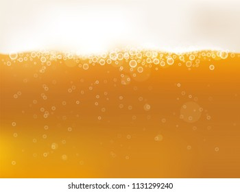 Pouring beer with bubble. Vector background.