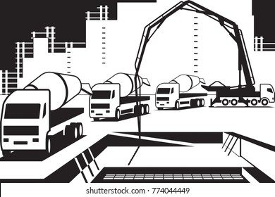 Pouring concrete on construction site - vector illustration