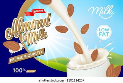 Pouring milk and almond into glass with a splash on blue background template. Vector set of fruit element for advertising, packaging design of milk products.