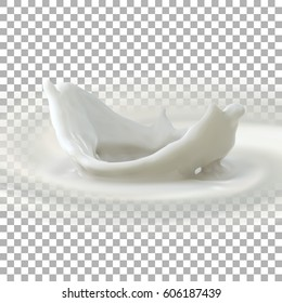Pouring milk crown splash. Vector 3d illustration for food or cosmetics ad poster. Creamy crown splash isolated on checkered transparent background.