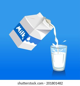 Pouring milk into a glass. vector illustration