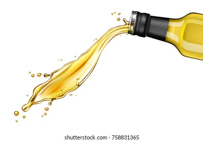 pouring oil from glass bottle against white background