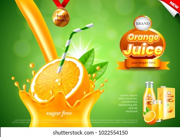 Pouring orange juice ads. Realistic vector background. 3d illustration and packaging
