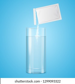 Pouring Powdered in Transparent Glass with Water on a Blue Background Medicine Drug Therapy Concept. Vector illustration