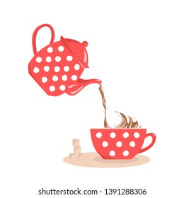 Pouring tea from red polka dots teapot into a cup. Liquid droplets scatter from splash.Object isolated. Vector image.