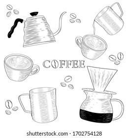 Pour-over, cup, milk jug, filter coffee, latte art on white background with coffee beans. Barista tools for making coffee. Set of hand drawing sketch engraving illustration.
