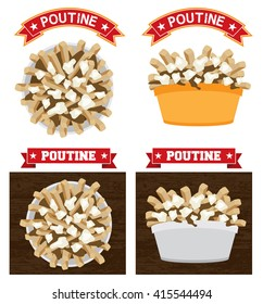 Poutine canadian food illustration vector text is outline version 10 Poutine is a canadian fast food meal made with french fries gravy and cheese curd