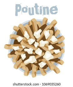 Poutine quebec meal of french fries, cheese curd and gravy vector illustration