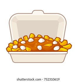 Poutine, traditional Canadian food, in takeout box. Potato french fries with gravy and cheese curds in takeaway container. Isolated vector illustration.