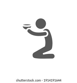 Poverty glyph icon. Simple solid style. Homeless beggar, hunger and poor concept. Vector illustration on white background. EPS 10