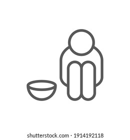 Poverty line icon. Simple outline style. Homeless beggar, hunger and poor concept. Vector illustration on white background. Editable stroke EPS 10