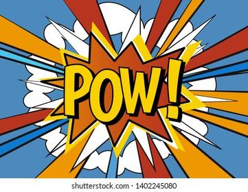 Pow! Comic pop art speech bubble illustration. Vector explosion with vintage comics pow text.