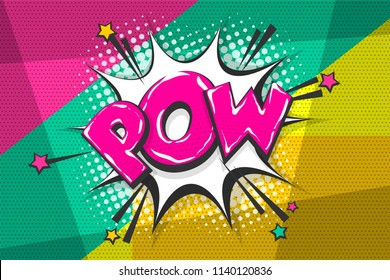 Pow gun wow comic text speech bubble. Colored pop art style sound effect. Halftone vector illustration banner. Vintage comics book poster. Colored funny cloud font.
