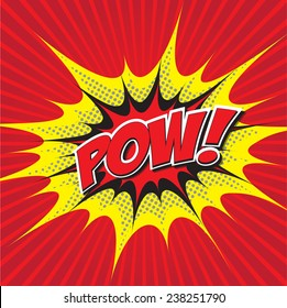 POW! wording sound effect set design for comic background, comic strip