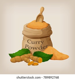 Powder of curry in a canvas bag and roots of turmeric, curcuma. Vector illustration