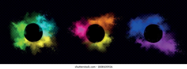 Powder Holi paints round frames colorful clouds or explosions, ink splashes, decorative vibrant dye borders isolated on black background, traditional indian holiday. Realistic 3d vector illustration