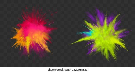 Powder Holi paints set isolated on transparent background colorful clouds or explosions, ink splashes, decorative vibrant dye for festival, traditional indian holiday. Realistic 3d vector illustration
