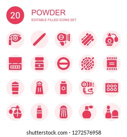 powder icon set. Collection of 20 filled powder icons included Eye shadow, Nail brush, Hairdryer, Skii, Perfume, Powder, Salt, Holi, Protein shake, Baby powder, Eyeshadow, Make up
