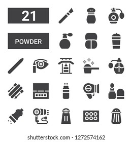 powder icon set. Collection of 21 filled powder icons included Salt, Eyeshadow, Hairdryer, Make up, Powder, Eye shadow, Skii, Perfume, Detergent, Gym bars, Nail brush, Protein shake