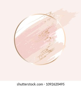 Powder, rose, nude brush strokes. Gold round contour frame.
