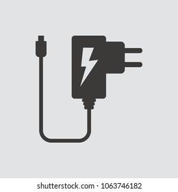 Power adapter icon isolated of flat style. Vector illustration.