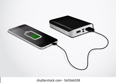 Power bank connected to a smart phone by cable. Isometric vector illustration