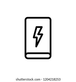 Power bank flat icon. Single high quality outline symbol of info for web design or mobile app. Thin line signs for design logo, visit card, etc. Outline logo of power bank