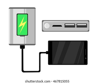 Power bank. mobile phone and battery icon design vector.