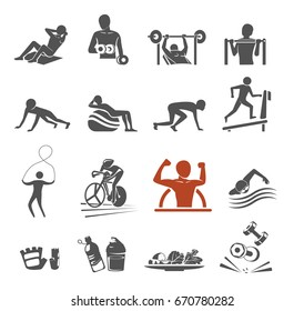 Power body icon concept. Gym class by yourself. Exercise project.