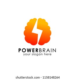 power brain logo design template