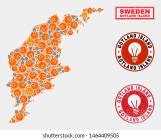 Power bulb mosaic Gotland Island map and grunge rounded stamp seals. Mosaic vector Gotland Island map is composed with light bulb items. Concept for power supply services. Orange and red colors used.