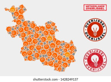 Power bulb mosaic Overijssel Province map and grunge rounded seals. Mosaic vector Overijssel Province map is created with power bulb icons. Concept for innovation services. Orange and red colors used.