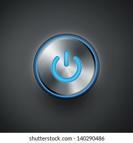 power button with blue light eps10 vector illustration