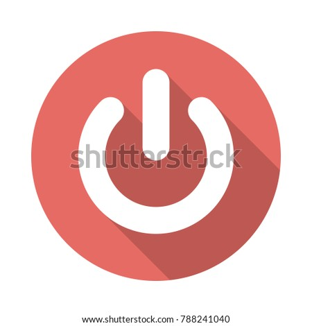 Power Button Circle Icon Long Shadow Stock Vector Royalty Free