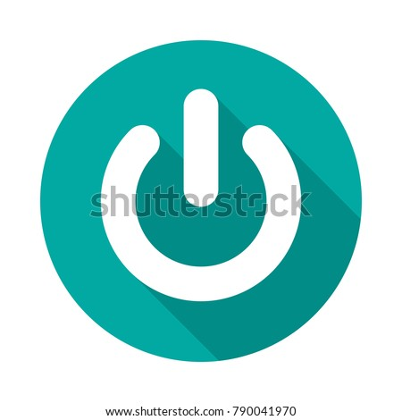 Power Button Circle Icon Long Shadow Stock Vector Royalty Free