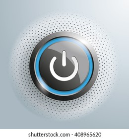 Power button with halftone on the gray background. Eps 10 vector file.
