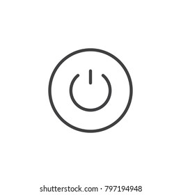 Power button line icon, outline vector sign, linear style pictogram isolated on white. Shutdown symbol, logo illustration. Editable stroke